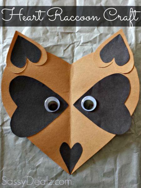 raccoon heart valentine craft