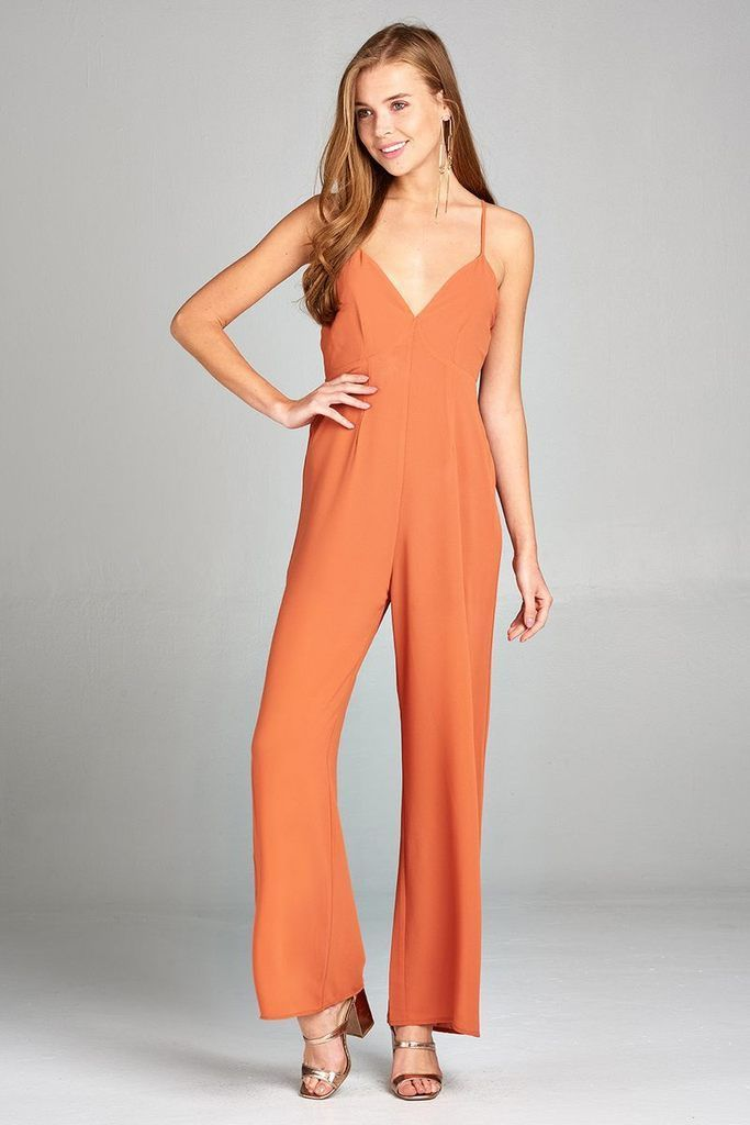 ea634bd2a93 Shop Ladies Fashion Plunging V-neck w Cami Strap Woven Jumpsuit www.essish
