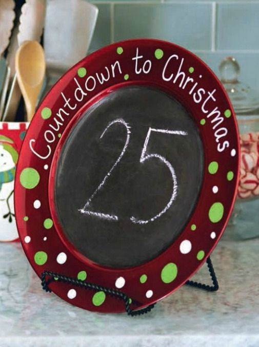 Christmas Countdown craft. A cute idea and a great way to use up cute holiday plates. Just paint on some chalkboard paint and write your message with paint markers.