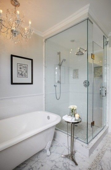 Seamless shower, clawfoot tub, marble...