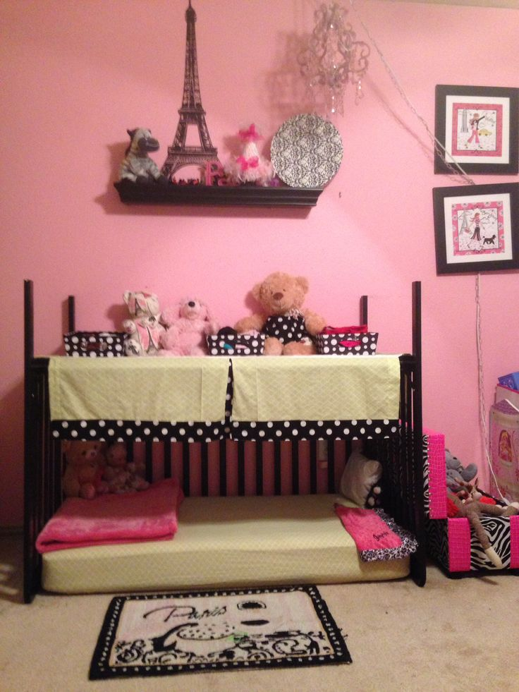 Crib Repurpose. This was real easy! Take off the front, turn it over, and put the dust ruffle on top. It is a great toddler bed, reading nook, or play area.