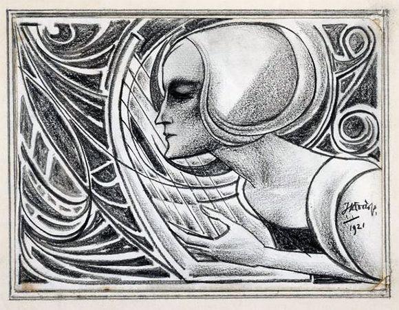 Jan Toorop, Harpspeelster, 1921