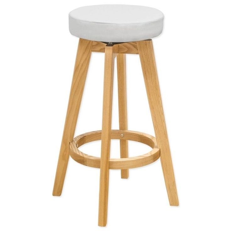 Mod Made Rex Wood Swivel Counter Mid-century Style Stool (White) (Faux Leather)