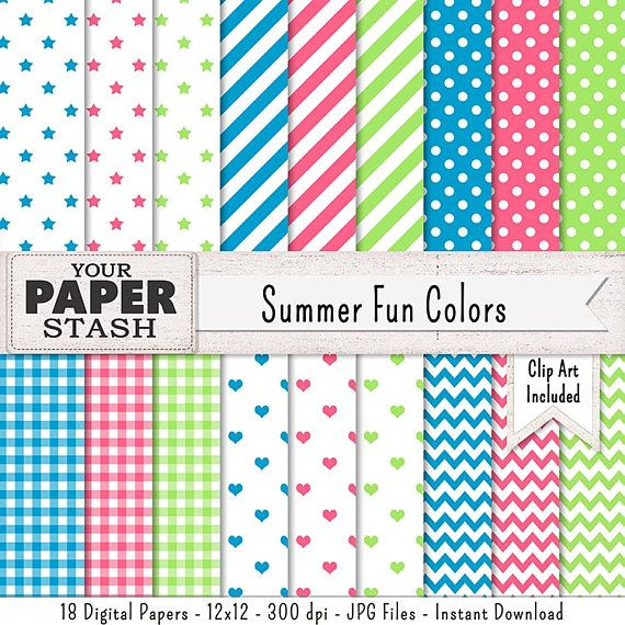 red quatrefoil chevron and stripe patterns digital papers INSTANT DOWNLOAD pink and aqua blue polka dot