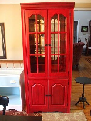 Red China Cabinet That Looked A Lot Like An Old Phone Both