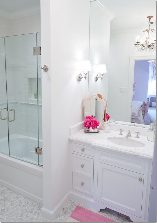 find this pin and more on home hall bath vanity - Girls Bathroom Design