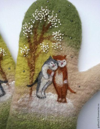 """Варежки, митенки, перчатки ручной работы. Ярмарка Мастеров - ручная работа Варежки """"коты под деревом"""". Handmade."""
