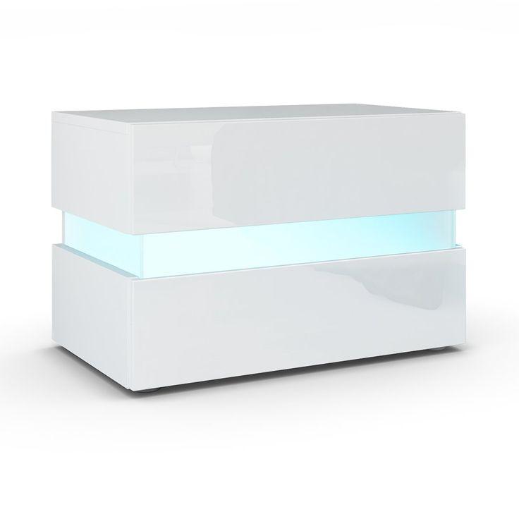 Nachttisch Nachtkonsole Flow in Weiß matt / Weiß Hochglanz inkl. LED Beleuchtung