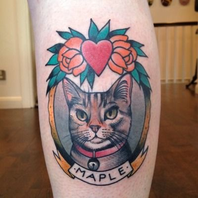 cat portrait tattoo by cassandra frances