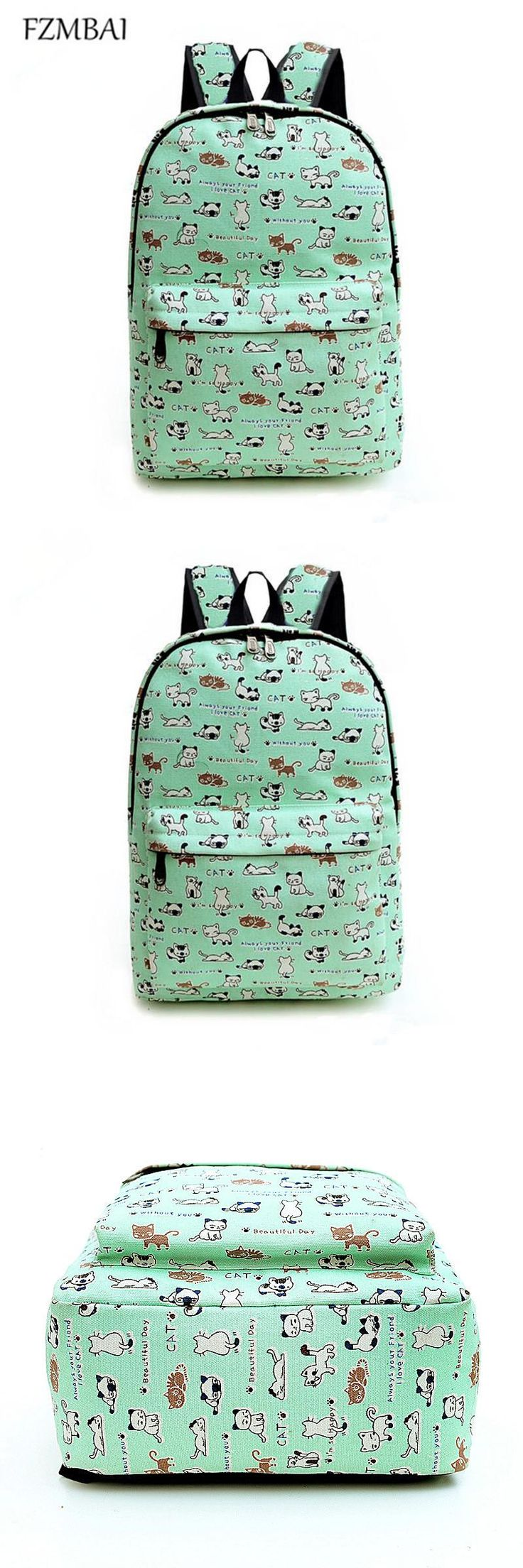[Visit to Buy] FZMBAI 2017 Preppy Style Kitten Printing Backpacks Canvas Travel Bag Cute Cartoon Cat School Bags #Advertisement