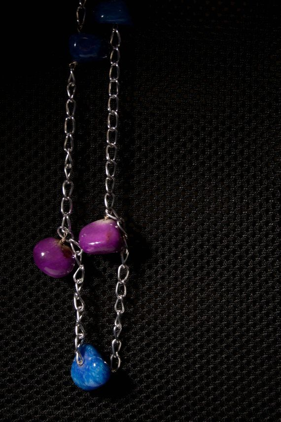 Berry Chunks Blue and purple gem stone by ElizabethsPearlz on Etsy, $16.95