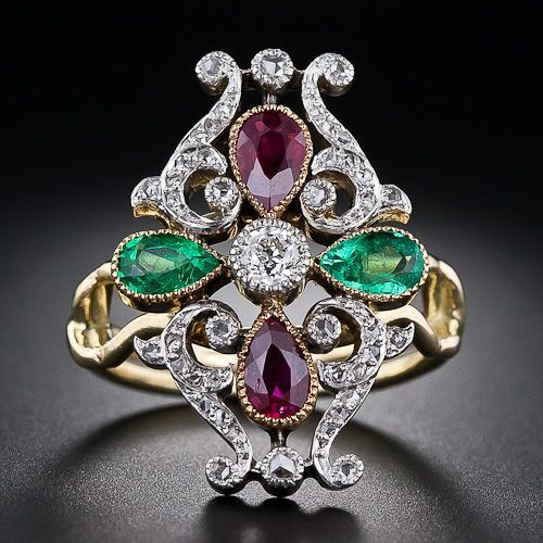 Antique Victorian-Era Ring composed of bright Pear Shape Rubies, Emeralds, and Diamonds   – Circa: 1885