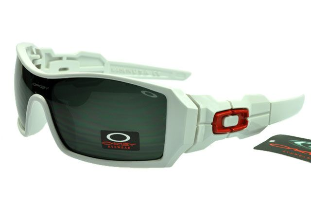 Oakley Oil Rig Sunglasses Black Lens Polished White Red Frame