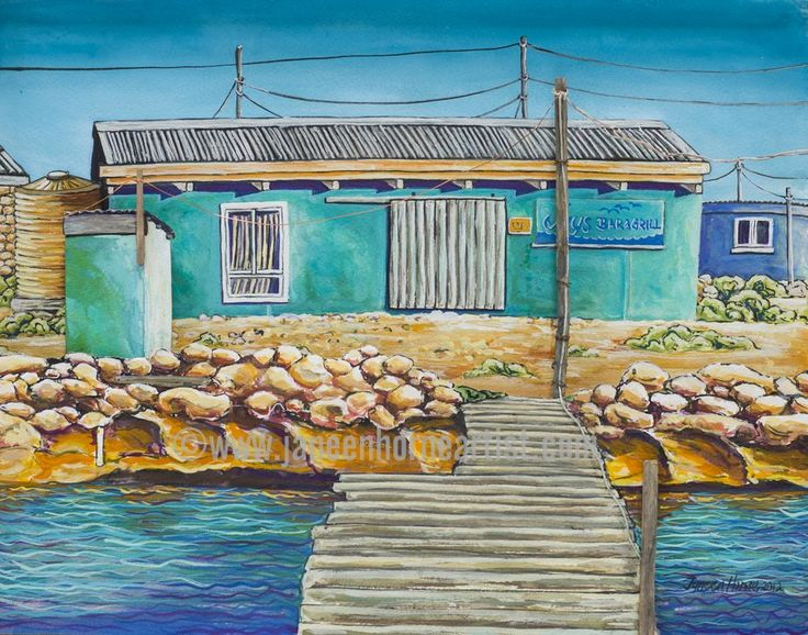Jays bar and Grill - Abrolhos Islands - W.A.- Giclee print and gift card - www.janeenhorneartist.com