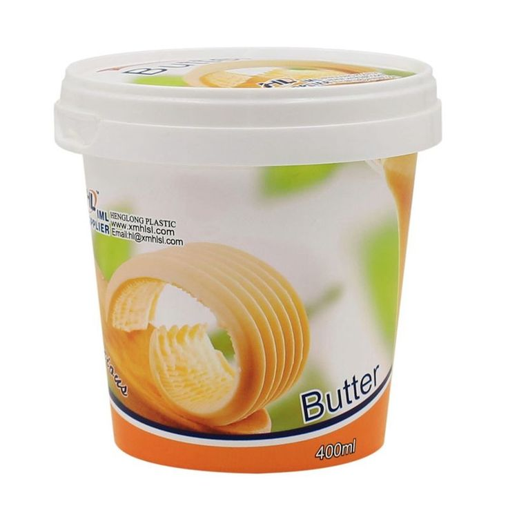 IML Design 400ml Round Plastic Tub for Butter/Ice Cream with Lid,Butter Margarine Tub Holder