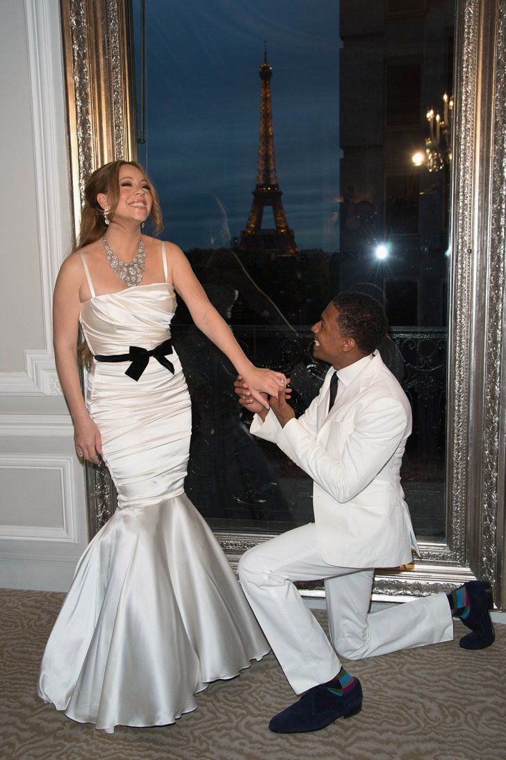 Pin for Later: Mariah Carey and Nick Cannon Love to Renew Their Vows 2012 Mariah and Nick played bride and groom in Paris for their fourth wedding anniversary in 2012.
