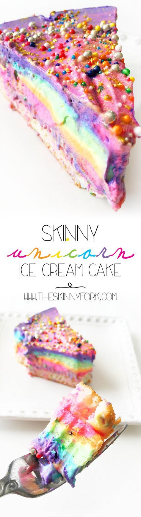 Check out this Skinny Unicorn Ice Cream Cake to add some much needed color, sparkle, and joy to your day! Don't worry, this ice cream cake is super easy to make using @curiouscreamery  Ice Cream Cake Mix!  #Ad #CuriousCreamery http://TheSkinnyFork.com | Skinny & Healthy Recipes