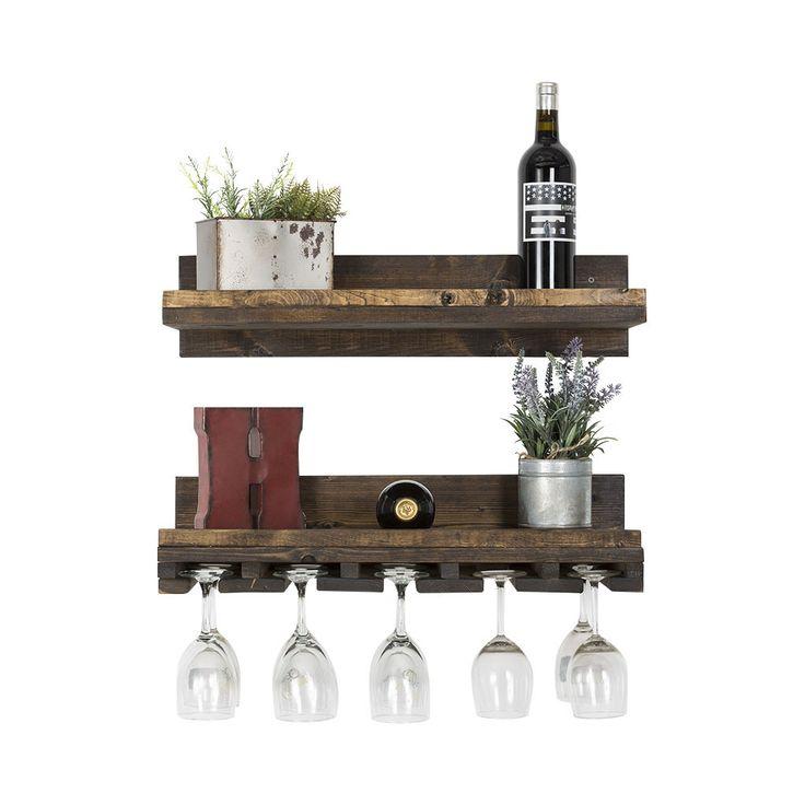 Rustic Luxe - handmade rustic wood floating shelf / glass rack combo - set of 2