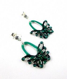 Cercei fluture din argint picati cu email uscare la rece verde/ negru. Silver hand painted earrings.  #jewelry #silver #cercei #argint #bijuterii #roxoboutique