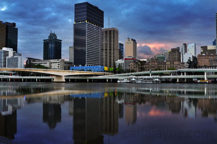 Sunrise behind the city from Southbank