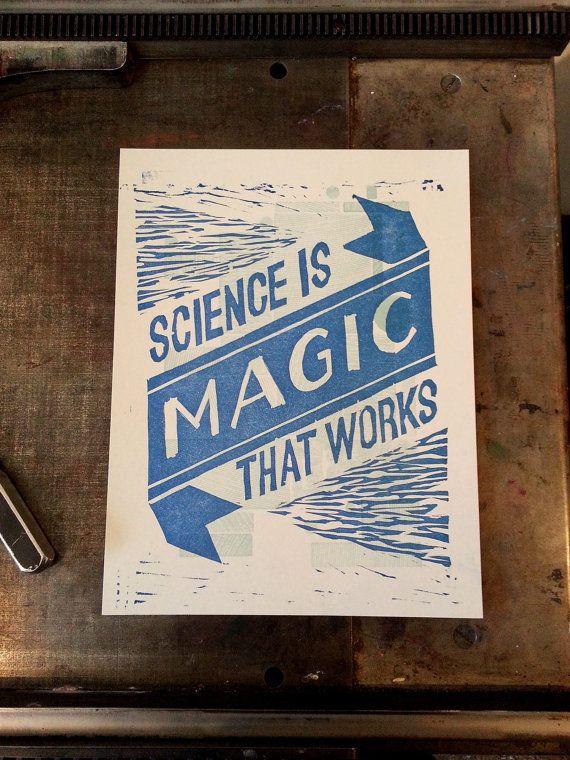 Kurt Vonnegut - Science is Magic that Works - 2 Color Letterpress Print - Cats Cradle. $11.00, via Etsy.