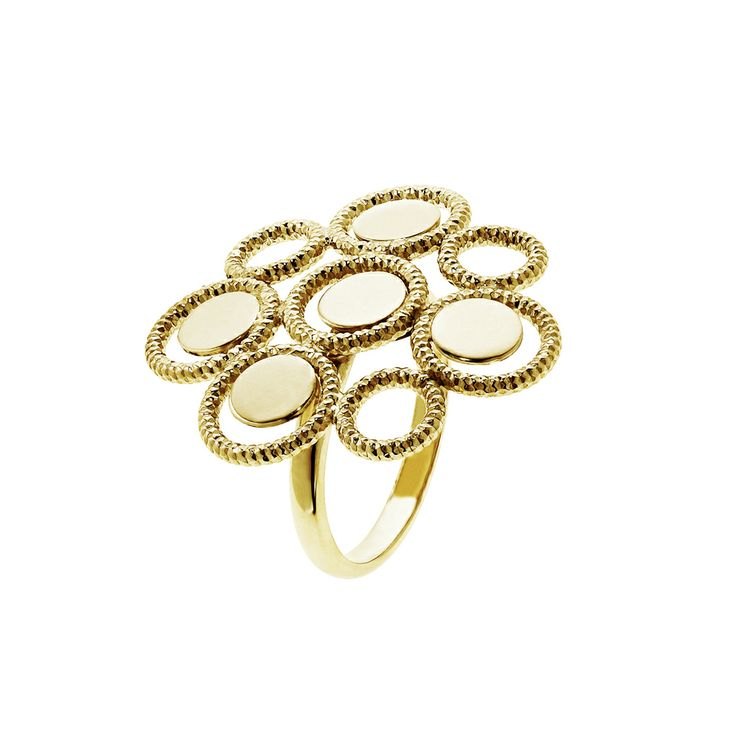 Oxette Gold plated Silver 925 - Available here: http://www.oxette.gr/kosmimata/daktulidia/ring-with-circles-s.silver-goldplated-4l-1/