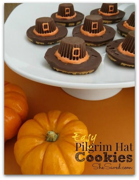 How cute are these Pilgrim Hat Cookies? Perfect for a little Thanksgiving treat and they're so easy the kids can make them from She Saved.