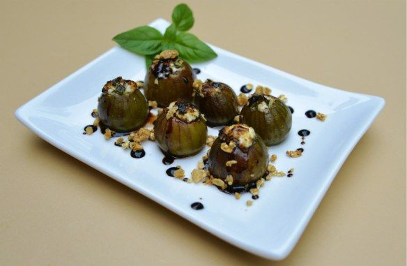 Stuffed Figs with Goat Cheese, Basil and Balsamic Reduction