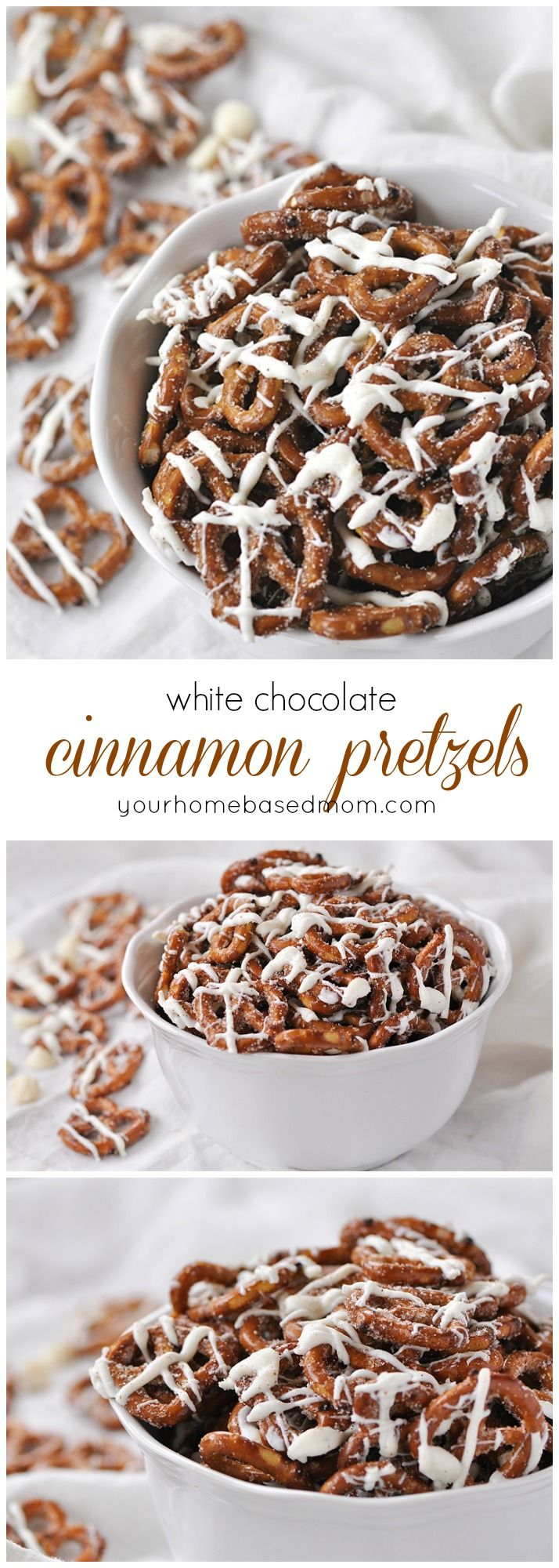 White Chocolate Cinnamon Pretzels - the quickest and easiest and most delicious treat you'll ever make!