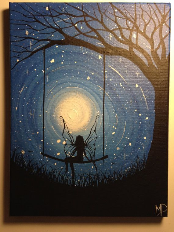 I wish I may 9 x 12 acrylic on canvas panel by Michael Prosper A Fairy Angel on her swing: