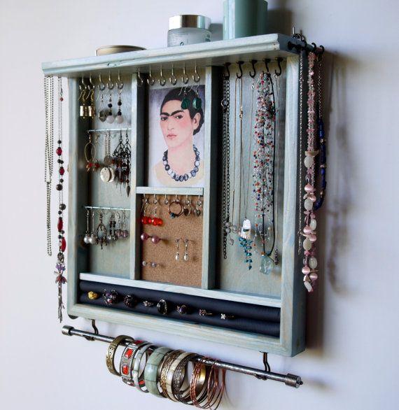 Porta gioielli. Orecchini display con mensola. AQUA BLUE