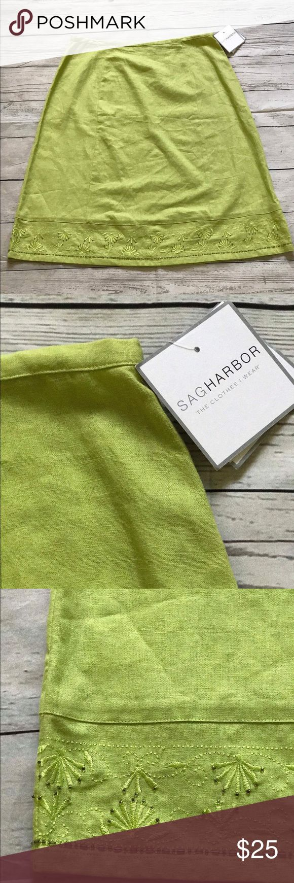 New!!! Sagharbor Green Skirt Size 14 A23 Sag Harbor Green Skirt Size 14 A23.  Detailed design at the bottom. 55% Linen 45%Rayon.  New with Tags. Sag Harbor Skirts A-Line or Full