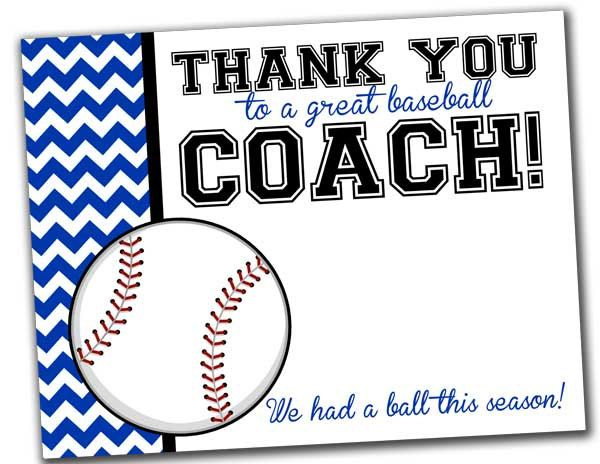 Team Thank You Card for Baseball Coach INSTANT Download by ...
