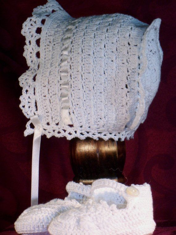 Heirloom Crocheted Baby Bonnet and Bootie Set by GrandmaGinnys