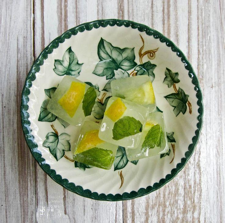 Mint and Lemon Slice Ice Cubes.