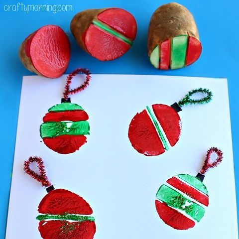 Learn how to make cute stamps out of potatoes! Kids can make them look like christmas ornament bulbs for cards or art projects.