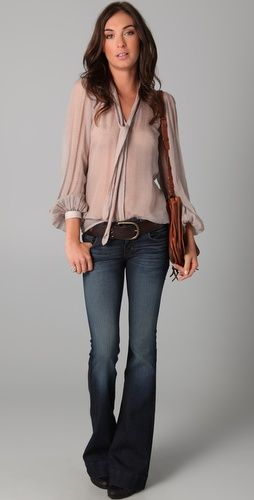 blouse + flares....simple as that: Flare Jeans, Outfits, Chiffon Tops, Shirts, Sheer Blouse, Pretty Blouses, Sheer Tops, Closet, Flared Jeans