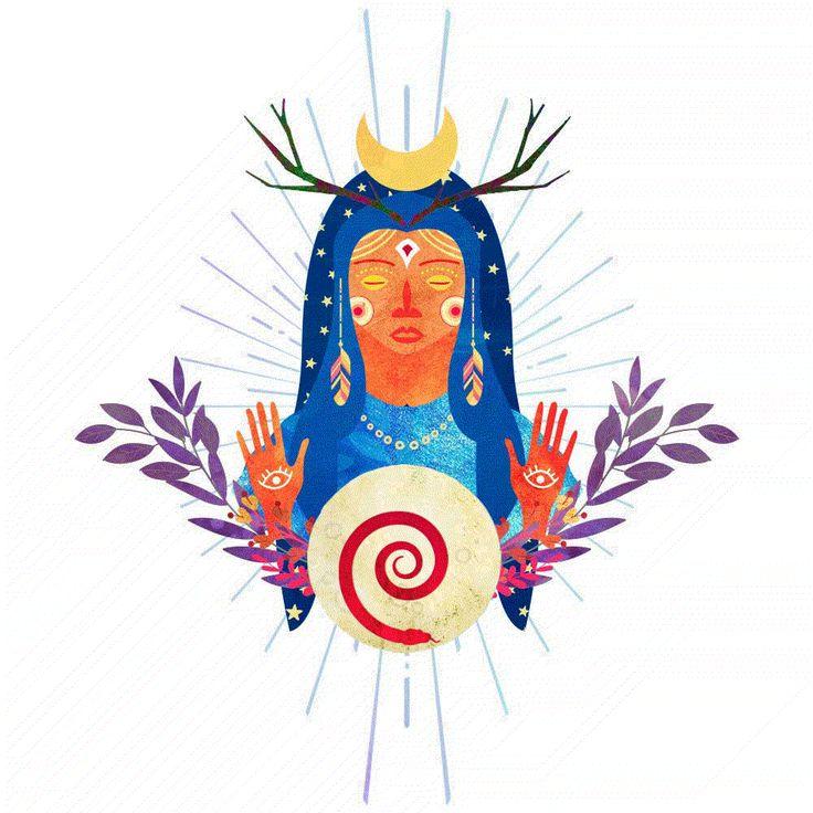 Una especie de Tonantzin #tonantzin #diosa #goddess #wildwomen #mujermedicina #luna #moon #snake #illustration #ilustracion #art #digitalart #nature #visionaryart #streetart #boho #virgendeguadalupe #witch #curandera