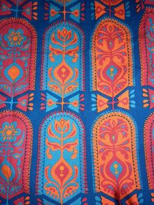 Vintage 1960s Blue, Red & Orange Abstract Print Bark Cloth Fabric