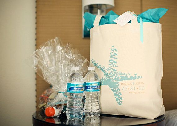 welcome bags for guests   examples  beach towel  sunscreen  lip balm and travel information