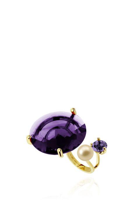 Never Too Light Ring In Purple Quartz by Delfina Delettrez for Preorder on Moda Operandi