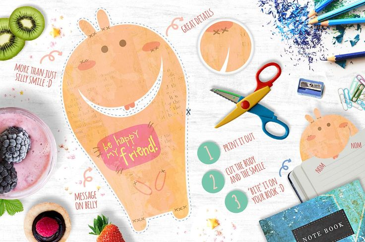 The Book Biters + bonus cards by Euonia Meraki on @creativemarket  Cute bookmark characters that happily bite your page :3 *nom