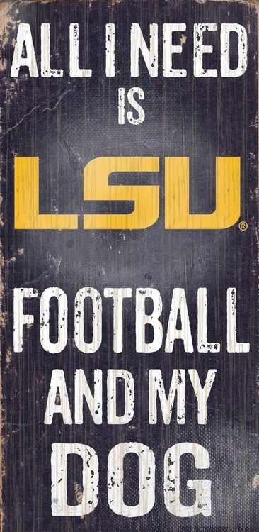 "LSU Tigers Wood Sign - Football and Dog 6""""x12"""""