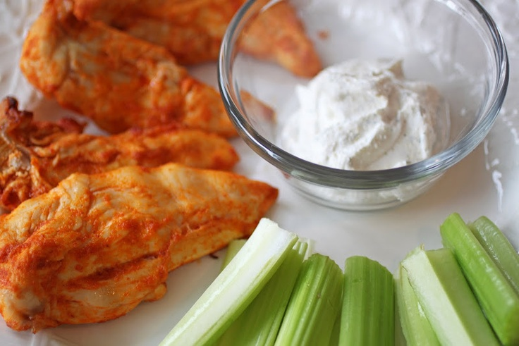 "Low carb ""chicken wings""...  really just baked chicken breasts in low carb wing sauce with a low carb dipping sauce!"