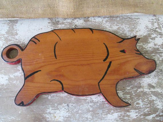 Pig Cutting Board PiggyPig DecorWood Cutting by AntiquesPlus