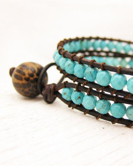 Turquoise Leather Wrap Bracelet / Eco Friendly Leather Coconut Wood Silk