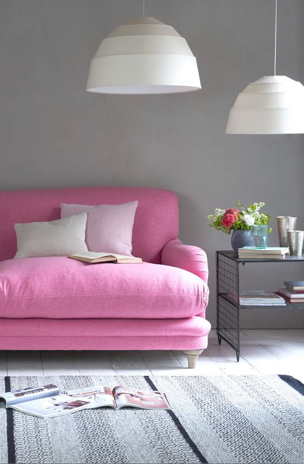 Loaf's comfy bright pink Pudding sofa in this colourful living room! http://loaf.com/products/pudding-sofa