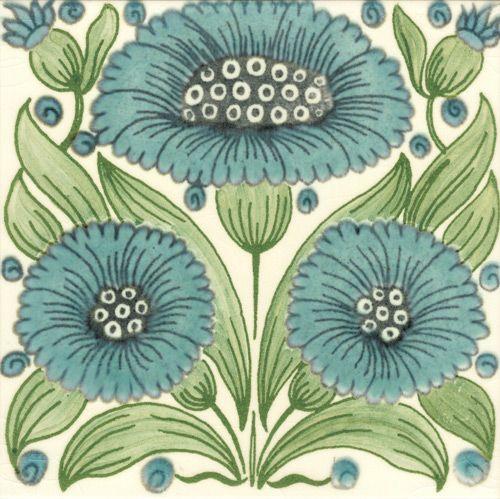 William De Morgan: Turquoise Floral - Bedford Park Daisy