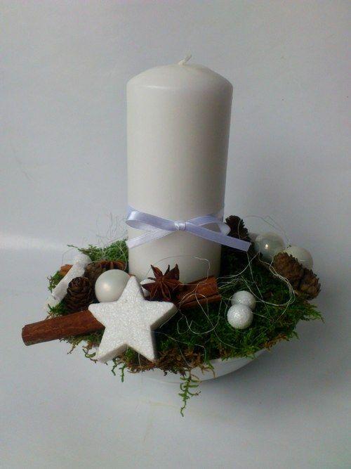 Vánoční svícen - bílá k bílé si sedá