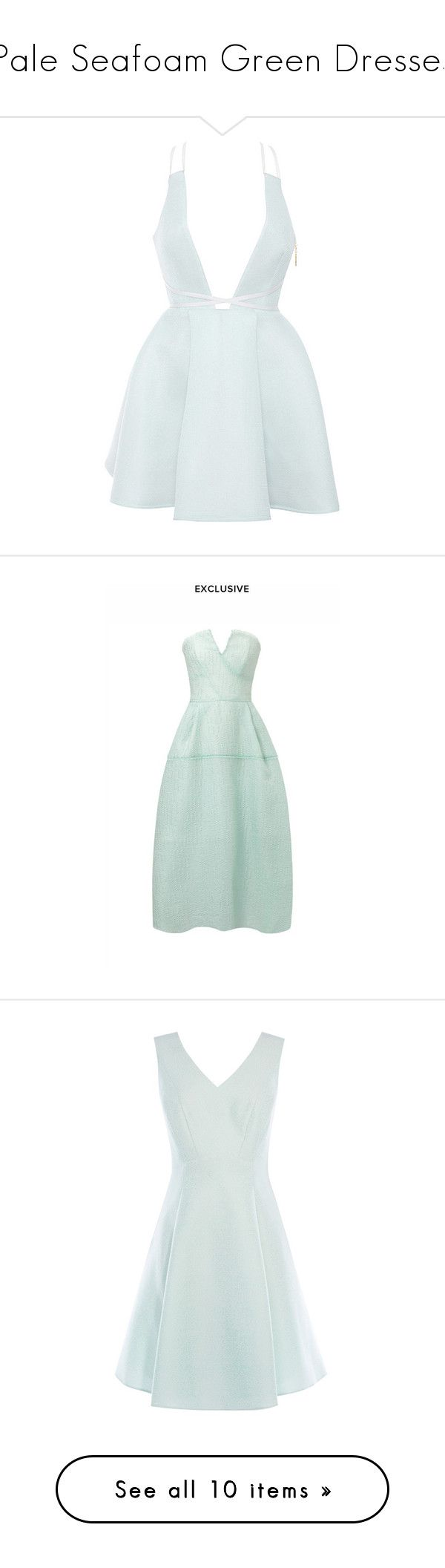 """Pale Seafoam Green Dresses"" by tegan-b-riley on Polyvore featuring dresses, light blue skater skirt, wrap dress, flared skirt, light blue party dress, day party dresses, green, midi, evening cocktail dresses and rose cocktail dress"